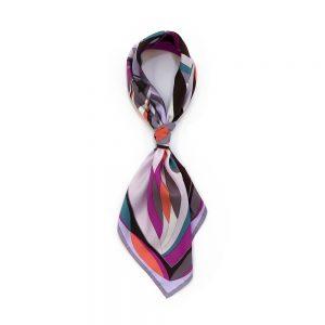 ジオメトリックフラワー(CGD-023) Marcaオリジナル 大判 シルクツイル スカーフ