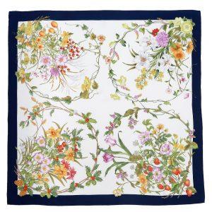 四季のツリー花(CFE-224) 伝統横濱スカーフ 大判 シルクツイル スカーフ