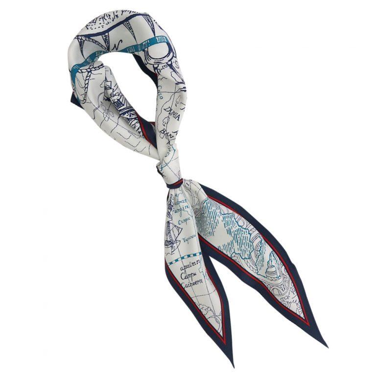 海洋図 菱形スカーフ (FES-085) Marcaオリジナル シルクツイル スカーフ