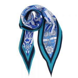 バイカラーベルト 菱形スカーフ (FET-069) Marcaオリジナル シルクツイル スカーフ ブルー